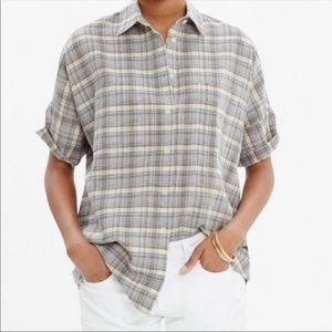 Madewell Courier Plaid Linen Blend Button Up Small